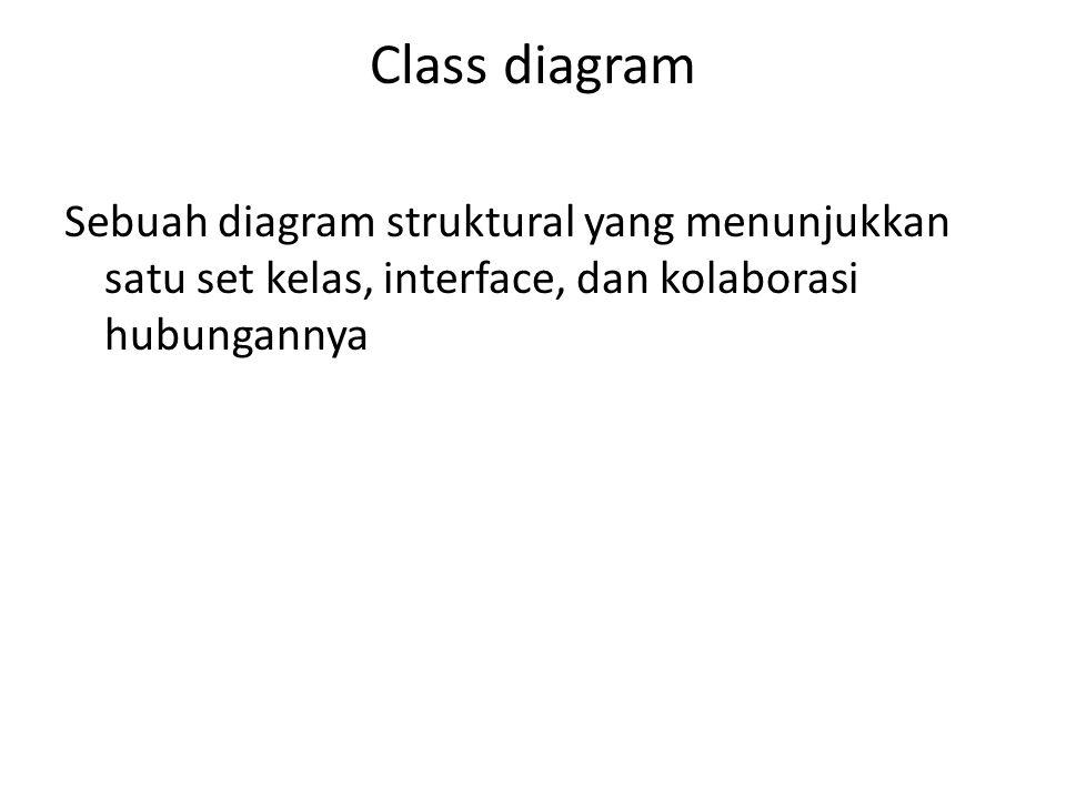 Class diagram Sebuah diagram struktural yang menunjukkan satu set kelas, interface, dan kolaborasi hubungannya