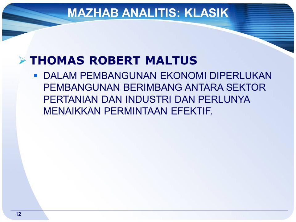 12  THOMAS ROBERT MALTUS  DALAM PEMBANGUNAN EKONOMI DIPERLUKAN PEMBANGUNAN BERIMBANG ANTARA SEKTOR PERTANIAN DAN INDUSTRI DAN PERLUNYA MENAIKKAN PERMINTAAN EFEKTIF.