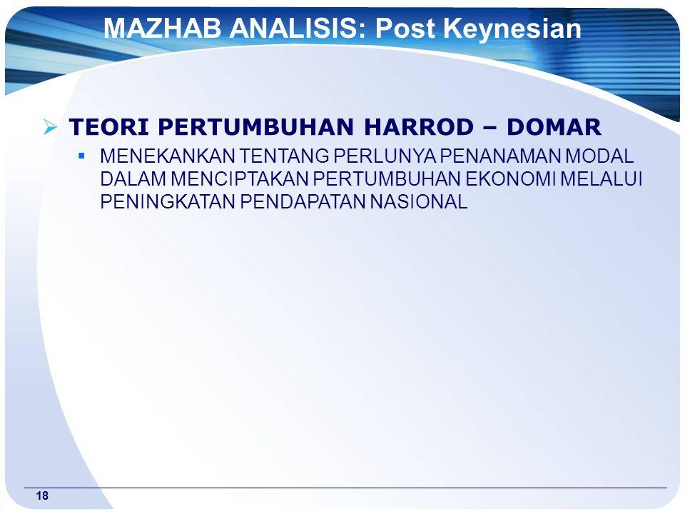 18  TEORI PERTUMBUHAN HARROD – DOMAR  MENEKANKAN TENTANG PERLUNYA PENANAMAN MODAL DALAM MENCIPTAKAN PERTUMBUHAN EKONOMI MELALUI PENINGKATAN PENDAPATAN NASIONAL MAZHAB ANALISIS: Post Keynesian