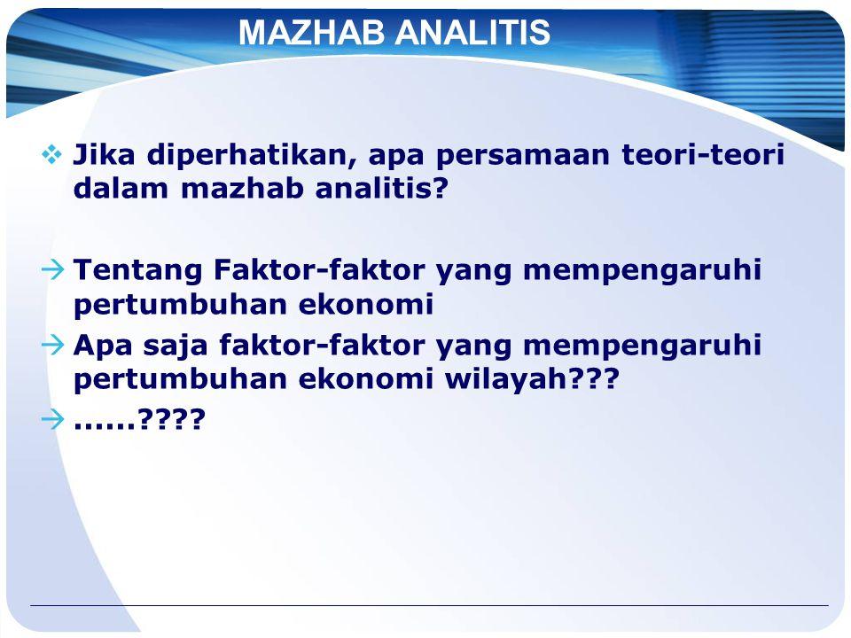 MAZHAB ANALITIS  Jika diperhatikan, apa persamaan teori-teori dalam mazhab analitis.