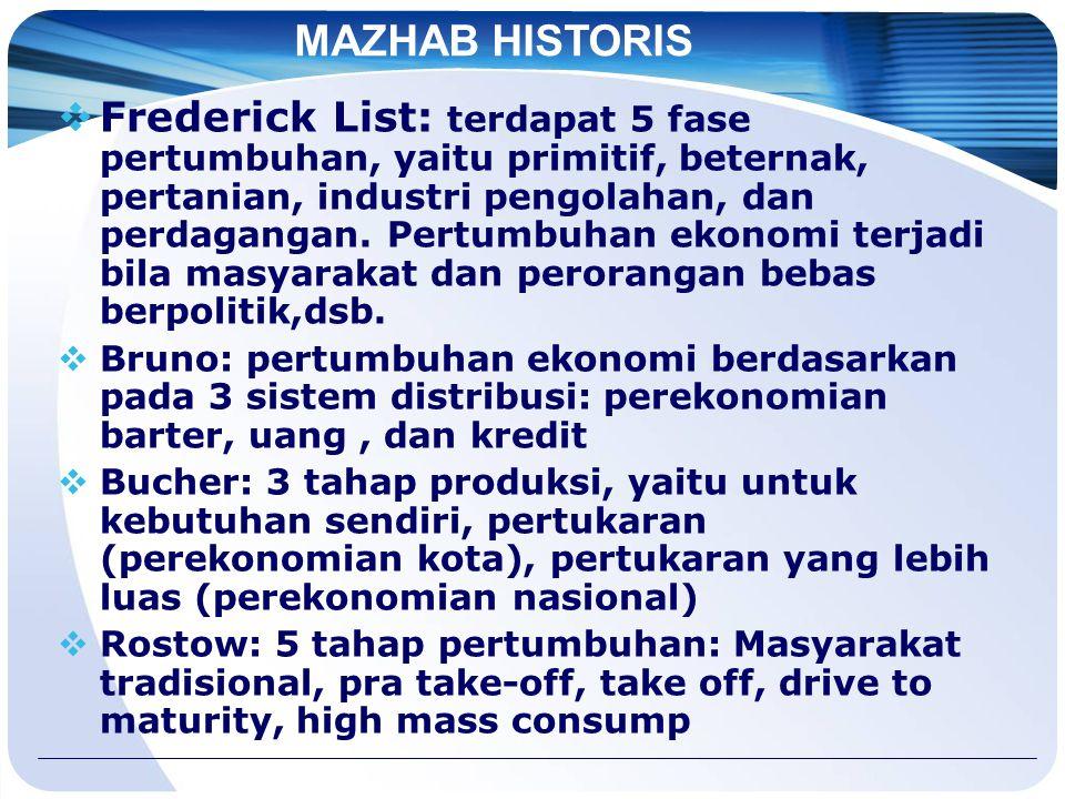 MAZHAB HISTORIS  Frederick List: terdapat 5 fase pertumbuhan, yaitu primitif, beternak, pertanian, industri pengolahan, dan perdagangan.