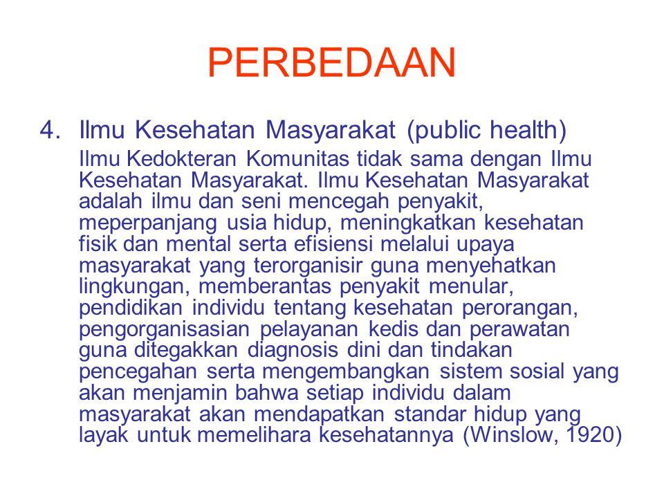 PERBEDAAN 4.Ilmu Kesehatan Masyarakat (public health) Ilmu Kedokteran Komunitas tidak sama dengan Ilmu Kesehatan Masyarakat.