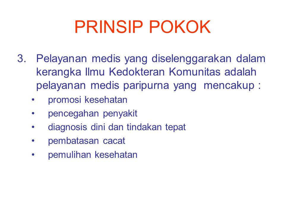 PRINSIP POKOK 3.Pelayanan medis yang diselenggarakan dalam kerangka Ilmu Kedokteran Komunitas adalah pelayanan medis paripurna yang mencakup : promosi kesehatan pencegahan penyakit diagnosis dini dan tindakan tepat pembatasan cacat pemulihan kesehatan