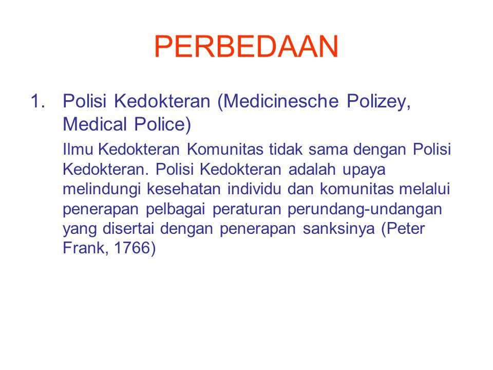 PERBEDAAN 1.Polisi Kedokteran (Medicinesche Polizey, Medical Police) Ilmu Kedokteran Komunitas tidak sama dengan Polisi Kedokteran.