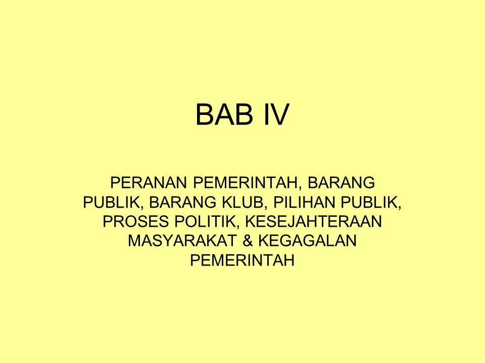 BAB IV PERANAN PEMERINTAH, BARANG PUBLIK, BARANG KLUB, PILIHAN PUBLIK, PROSES POLITIK, KESEJAHTERAAN MASYARAKAT & KEGAGALAN PEMERINTAH