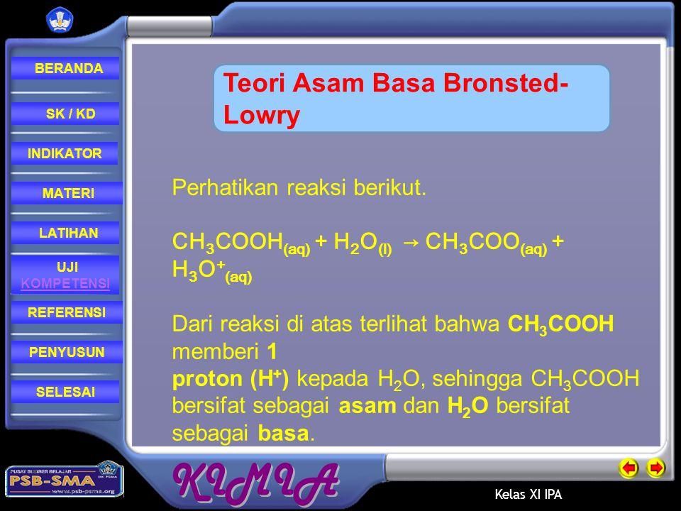 Kelas XI IPA REFERENSI LATIHAN MATERI PENYUSUN INDIKATOR SK / KD UJI KOMPETENSI BERANDA SELESAI Menurut Bronsted-Lowry, asam adalah senyawa yang dapat