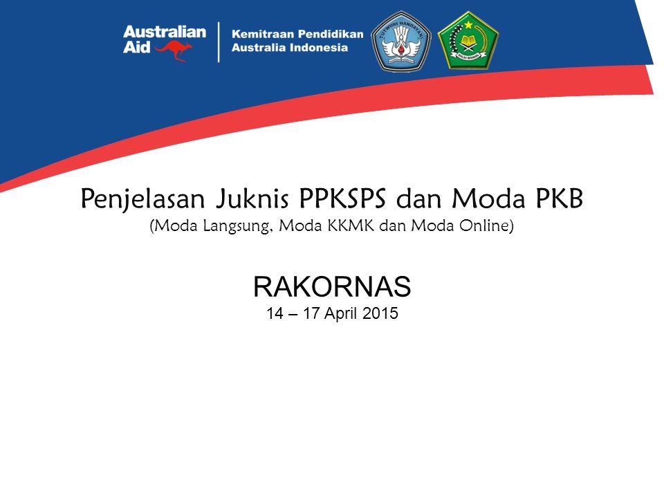 Pelaksanaan Moda KKMK Dikelola oleh KKPS/M, dilaksanakan oleh KKKS/M atau MKKS/M dan di jamin mutu oleh LPMP/P4TK/LP2KS In-1: Dilaksanakan 46 JP/6 hari untuk 2 BPU, di sekolah inti (mudah dijangkau) akhir In-1 susun RTL untuk On On: Dilaksanakan 200JP setara 2-3 bln untuk 2 BPU, di tempat tugas/sekolah peserta, akhir In-1 susun RTL untuk On