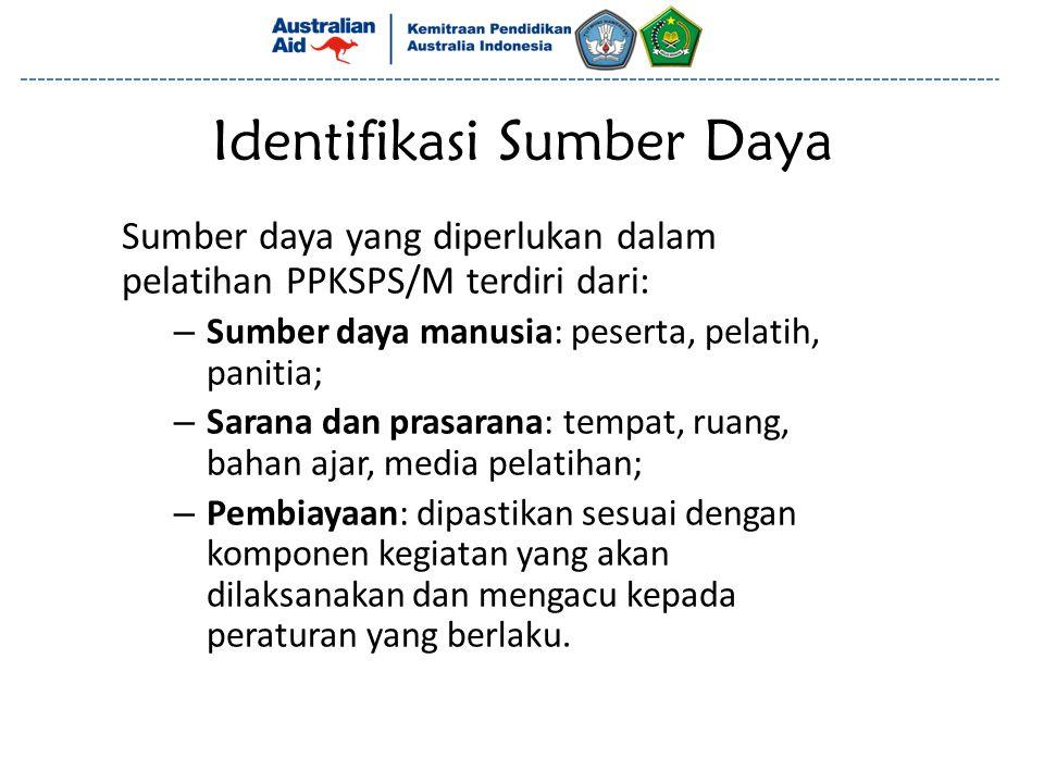 Identifikasi Sumber Daya Sumber daya yang diperlukan dalam pelatihan PPKSPS/M terdiri dari: – Sumber daya manusia: peserta, pelatih, panitia; – Sarana