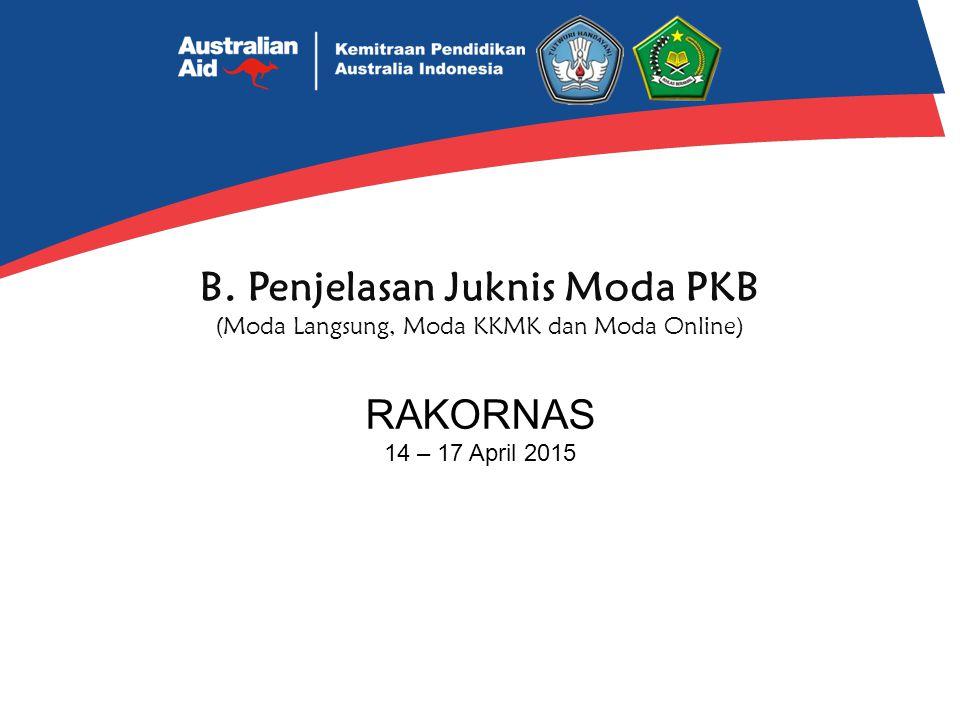 B. Penjelasan Juknis Moda PKB (Moda Langsung, Moda KKMK dan Moda Online) RAKORNAS 14 – 17 April 2015
