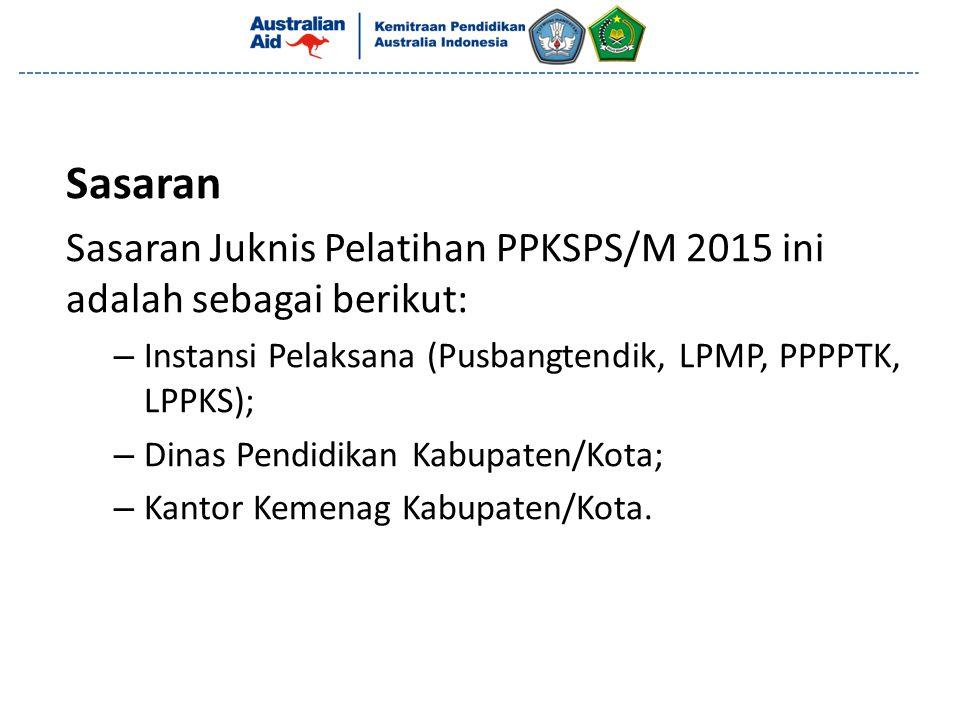 Sasaran Sasaran Juknis Pelatihan PPKSPS/M 2015 ini adalah sebagai berikut: – Instansi Pelaksana (Pusbangtendik, LPMP, PPPPTK, LPPKS); – Dinas Pendidik