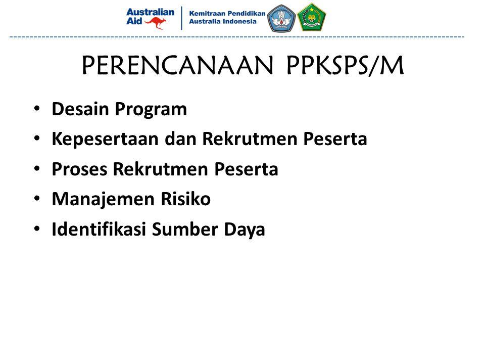 PERENCANAAN PPKSPS/M Desain Program Kepesertaan dan Rekrutmen Peserta Proses Rekrutmen Peserta Manajemen Risiko Identifikasi Sumber Daya