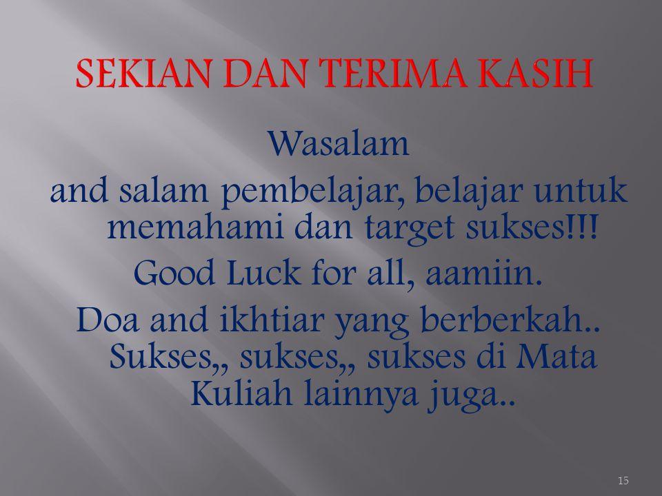Wasalam and salam pembelajar, belajar untuk memahami dan target sukses!!! Good Luck for all, aamiin. Doa and ikhtiar yang berberkah.. Sukses,, sukses,