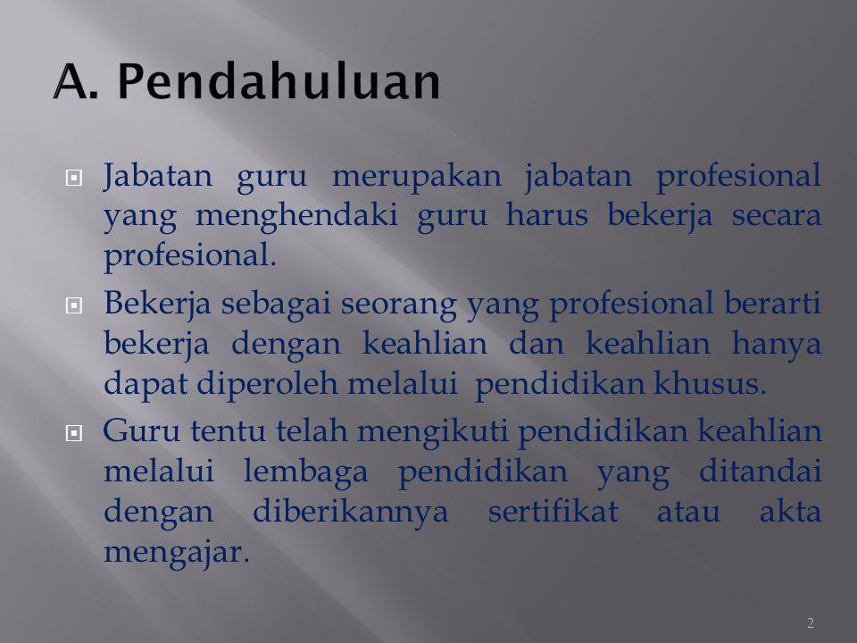  Jabatan guru merupakan jabatan profesional yang menghendaki guru harus bekerja secara profesional.  Bekerja sebagai seorang yang profesional berart
