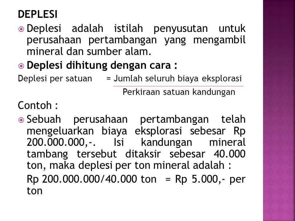 DEPLESI  Deplesi adalah istilah penyusutan untuk perusahaan pertambangan yang mengambil mineral dan sumber alam.