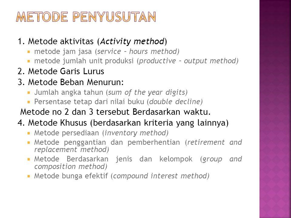 1. Metode aktivitas (Activity method)  metode jam jasa (service – hours method)  metode jumlah unit produksi (productive – output method) 2. Metode
