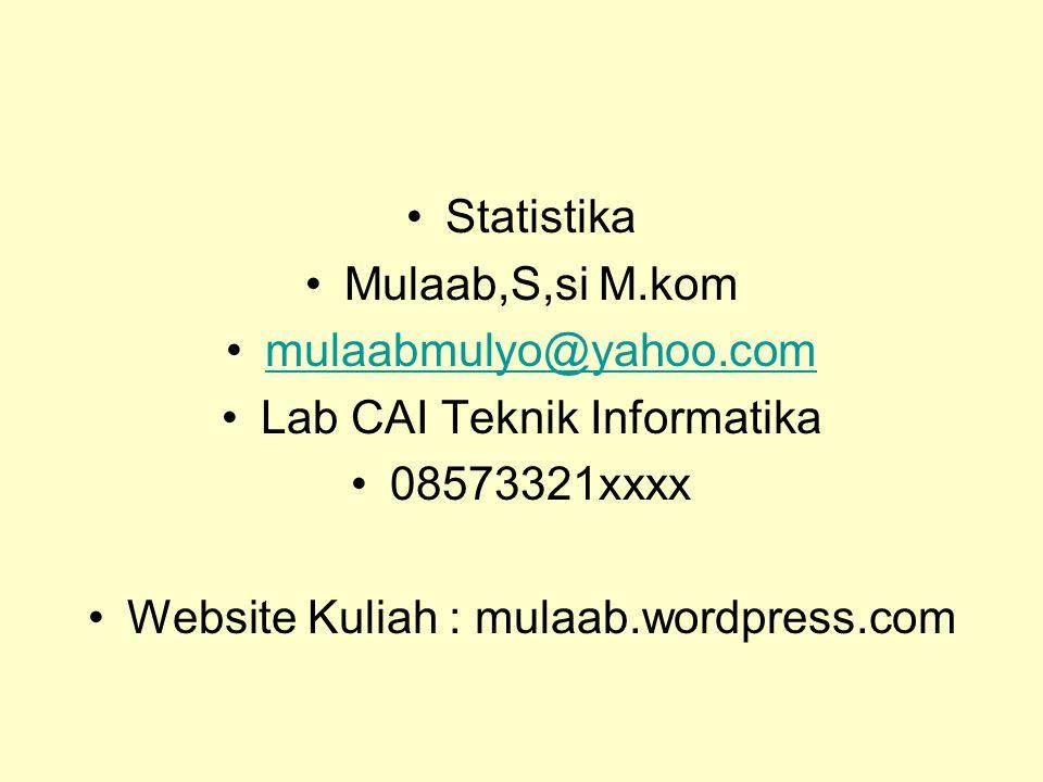 Statistika Mulaab,S,si M.kom mulaabmulyo@yahoo.com Lab CAI Teknik Informatika 08573321xxxx Website Kuliah : mulaab.wordpress.com