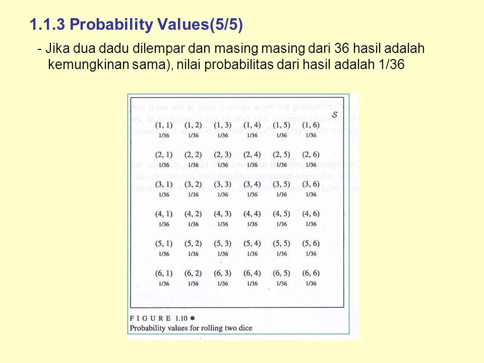 1.1.3 Probability Values(5/5) - Jika dua dadu dilempar dan masing masing dari 36 hasil adalah kemungkinan sama), nilai probabilitas dari hasil adalah 1/36