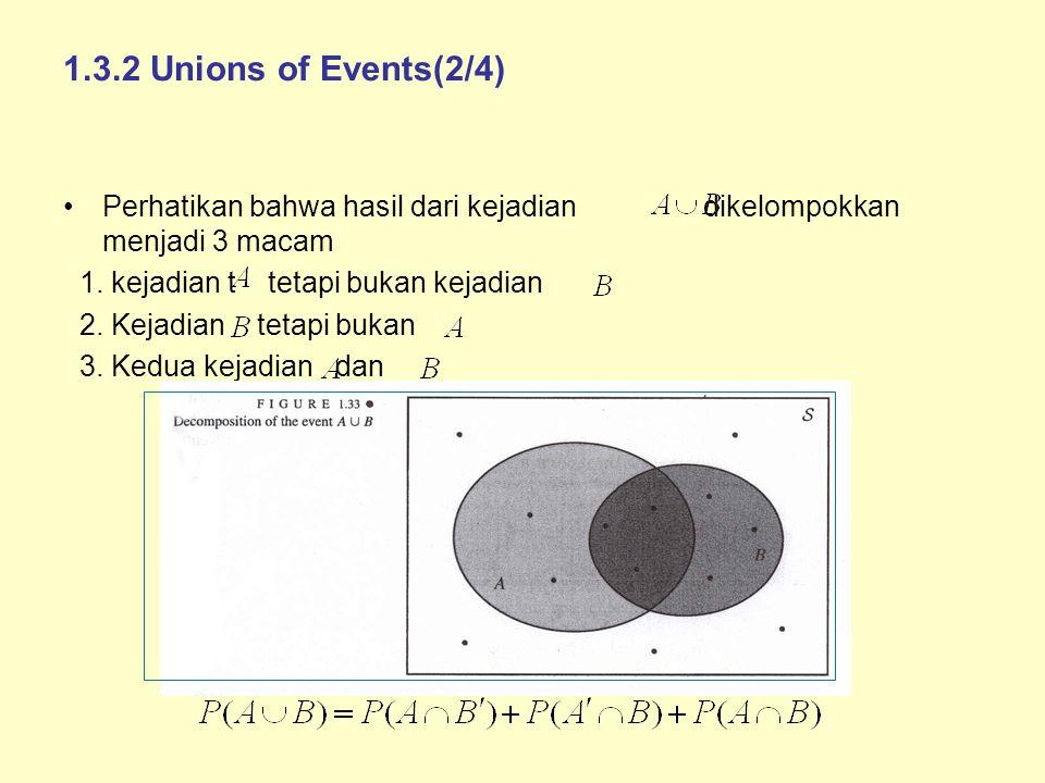1.3.2 Unions of Events(2/4) Perhatikan bahwa hasil dari kejadian dikelompokkan menjadi 3 macam 1. kejadian t tetapi bukan kejadian 2. Kejadian tetapi