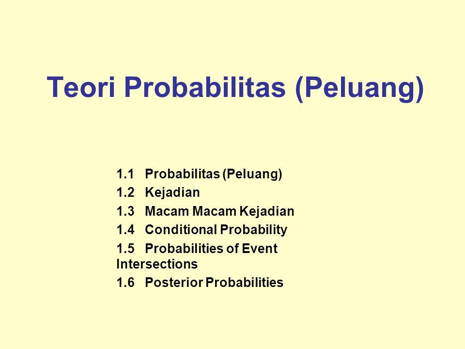Teori Probabilitas (Peluang) 1.1 Probabilitas (Peluang) 1.2 Kejadian 1.3 Macam Macam Kejadian 1.4 Conditional Probability 1.5 Probabilities of Event Intersections 1.6 Posterior Probabilities