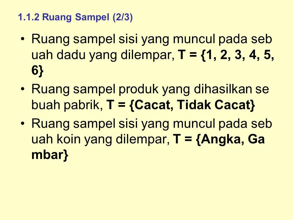 1.1.2 Ruang Sampel (2/3) Ruang sampel sisi yang muncul pada seb uah dadu yang dilempar, T = {1, 2, 3, 4, 5, 6} Ruang sampel produk yang dihasilkan se buah pabrik, T = {Cacat, Tidak Cacat} Ruang sampel sisi yang muncul pada seb uah koin yang dilempar, T = {Angka, Ga mbar}