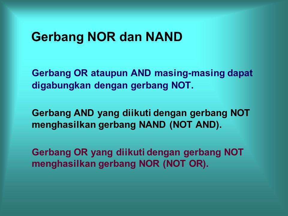 Gerbang NOR dan NAND Gerbang OR ataupun AND masing-masing dapat digabungkan dengan gerbang NOT.