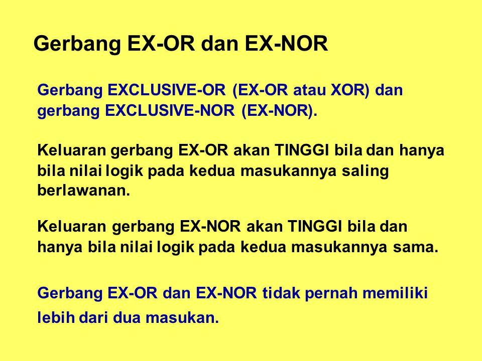Gerbang EX-OR dan EX-NOR Gerbang EXCLUSIVE-OR (EX-OR atau XOR) dan gerbang EXCLUSIVE-NOR (EX-NOR).