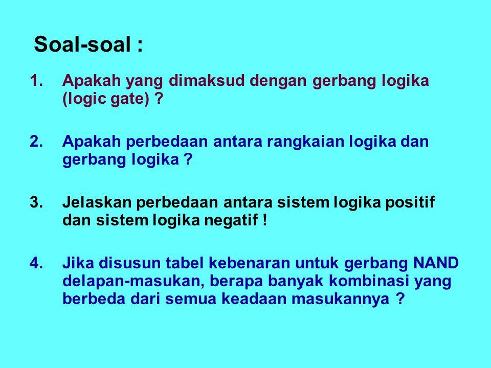 Soal-soal : 1.Apakah yang dimaksud dengan gerbang logika (logic gate) .