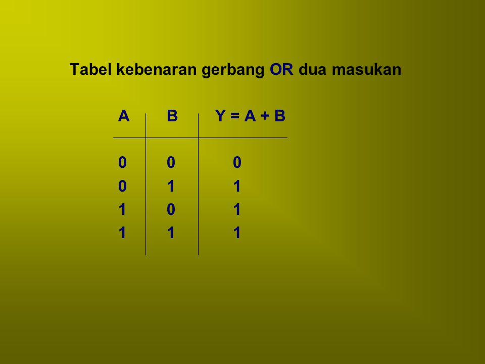 Simbol rangkaian gerbang OR A B Y A BY C