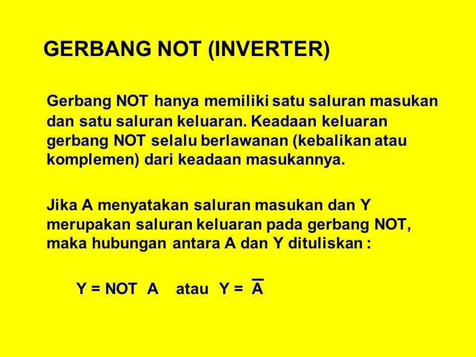 GERBANG NOT (INVERTER) Gerbang NOT hanya memiliki satu saluran masukan dan satu saluran keluaran.