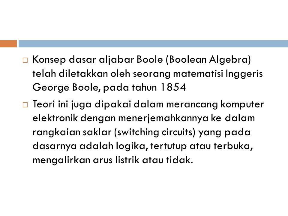  Konsep dasar aljabar Boole (Boolean Algebra) telah diletakkan oleh seorang matematisi Inggeris George Boole, pada tahun 1854  Teori ini juga dipaka