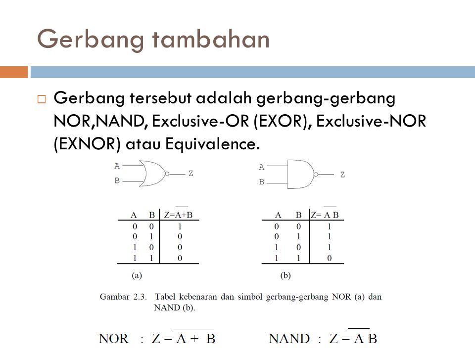 Gerbang tambahan  Gerbang tersebut adalah gerbang-gerbang NOR,NAND, Exclusive-OR (EXOR), Exclusive-NOR (EXNOR) atau Equivalence.