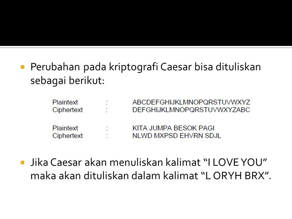 """ Perubahan pada kriptografi Caesar bisa dituliskan sebagai berikut:  Jika Caesar akan menuliskan kalimat """"I LOVE YOU"""" maka akan dituliskan dalam kal"""