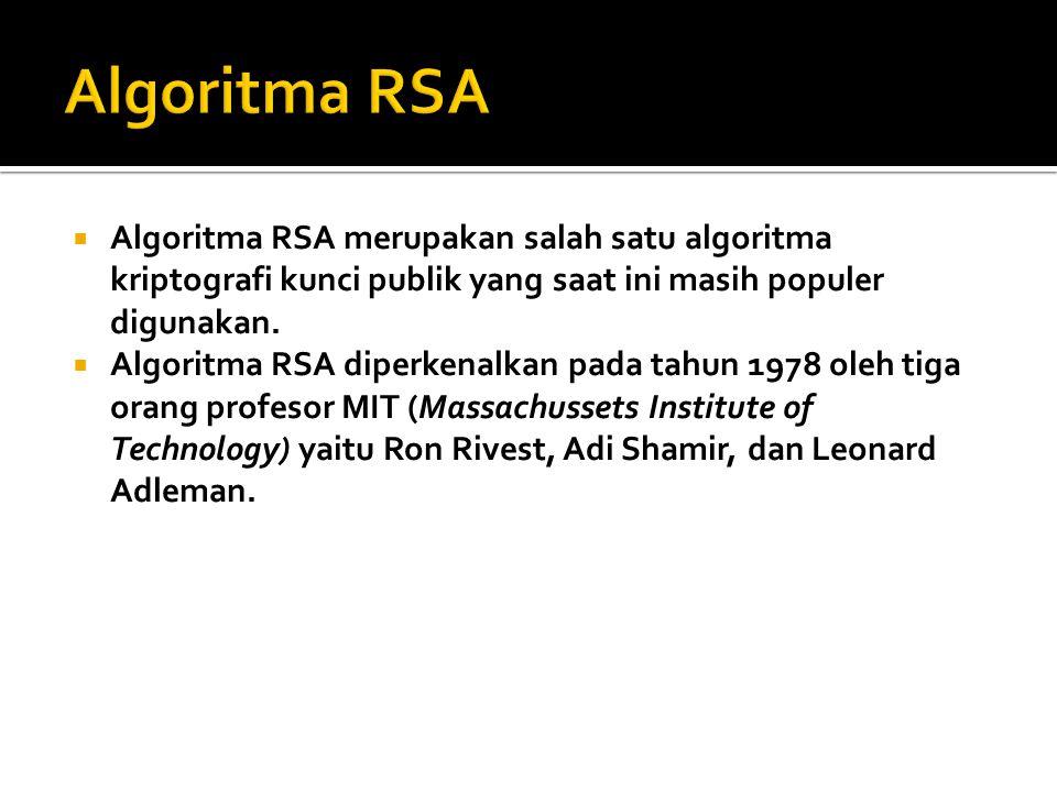 Algoritma RSA merupakan salah satu algoritma kriptografi kunci publik yang saat ini masih populer digunakan.  Algoritma RSA diperkenalkan pada tahu