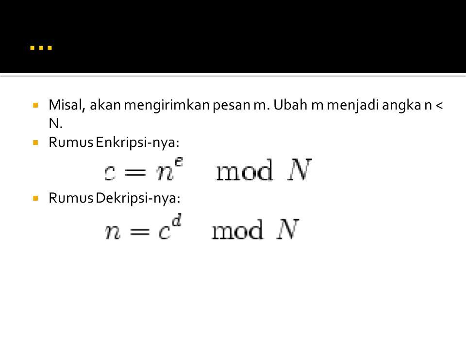  Misal, akan mengirimkan pesan m. Ubah m menjadi angka n < N.  Rumus Enkripsi-nya:  Rumus Dekripsi-nya: