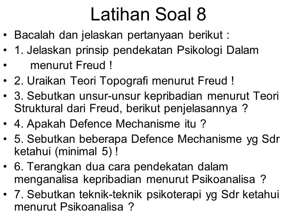 Latihan Soal 8 Bacalah dan jelaskan pertanyaan berikut : 1. Jelaskan prinsip pendekatan Psikologi Dalam menurut Freud ! 2. Uraikan Teori Topografi men