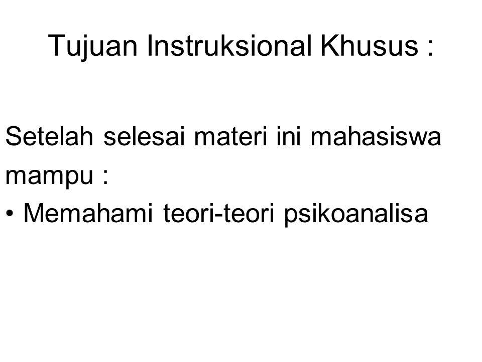 Tujuan Instruksional Khusus : Setelah selesai materi ini mahasiswa mampu : Memahami teori-teori psikoanalisa