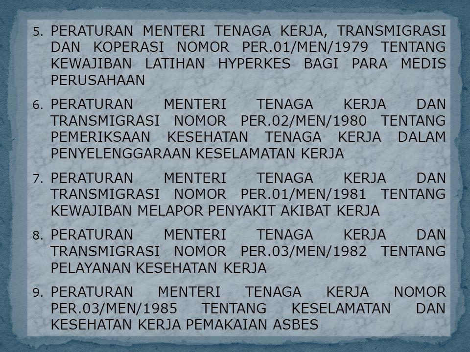 5. PERATURAN MENTERI TENAGA KERJA, TRANSMIGRASI DAN KOPERASI NOMOR PER.01/MEN/1979 TENTANG KEWAJIBAN LATIHAN HYPERKES BAGI PARA MEDIS PERUSAHAAN 6. PE