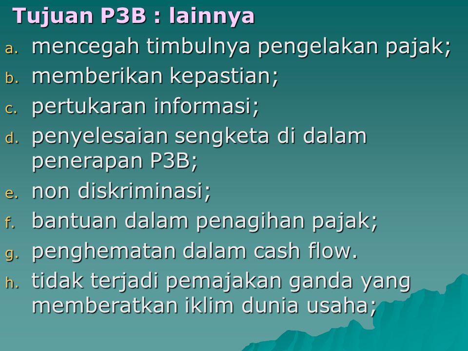 Tujuan P3B Tujuan P3B - Secara Umum : untuk mencegah seminimal mungkin terjadinya pengenaan pajak berganda.