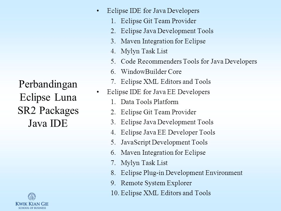 Sekilas IDE Eclipse Eclipse is famous for our Java Integrated Development Environment (IDE), but our C/C++ IDE and PHP IDE are pretty cool too. You ca