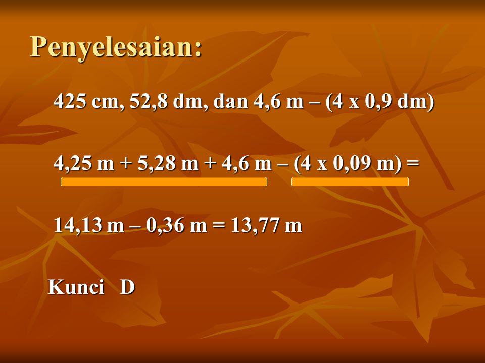 Penyelesaian: 425 cm, 52,8 dm, dan 4,6 m – (4 x 0,9 dm) 4,25 m + 5,28 m + 4,6 m – (4 x 0,09 m) = 14,13 m – 0,36 m = 13,77 m 14,13 m – 0,36 m = 13,77 m