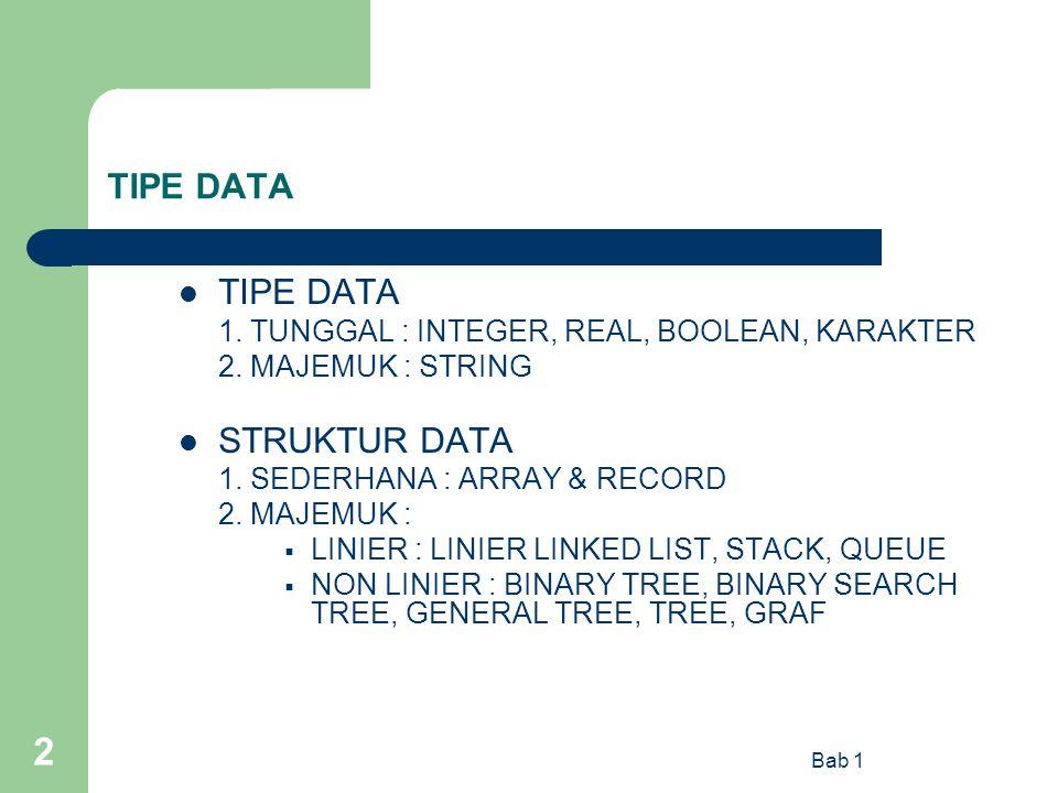 Bab 1 2 TIPE DATA 1. TUNGGAL : INTEGER, REAL, BOOLEAN, KARAKTER 2. MAJEMUK : STRING STRUKTUR DATA 1. SEDERHANA : ARRAY & RECORD 2. MAJEMUK :  LINIER