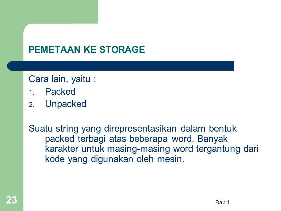 Bab 1 23 PEMETAAN KE STORAGE Cara lain, yaitu : 1. Packed 2. Unpacked Suatu string yang direpresentasikan dalam bentuk packed terbagi atas beberapa wo