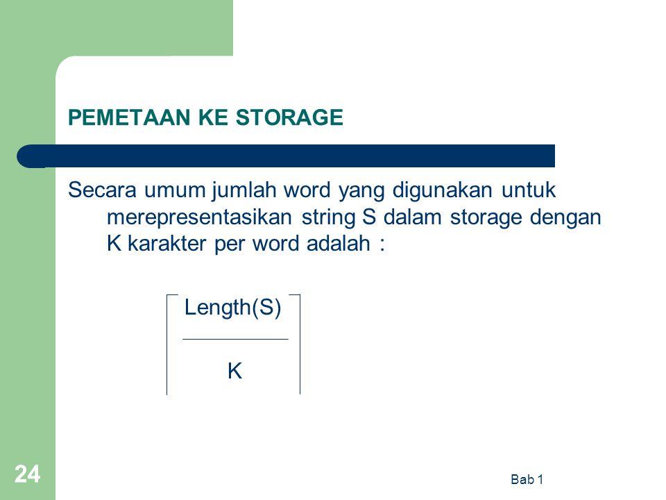 Bab 1 24 PEMETAAN KE STORAGE Secara umum jumlah word yang digunakan untuk merepresentasikan string S dalam storage dengan K karakter per word adalah :