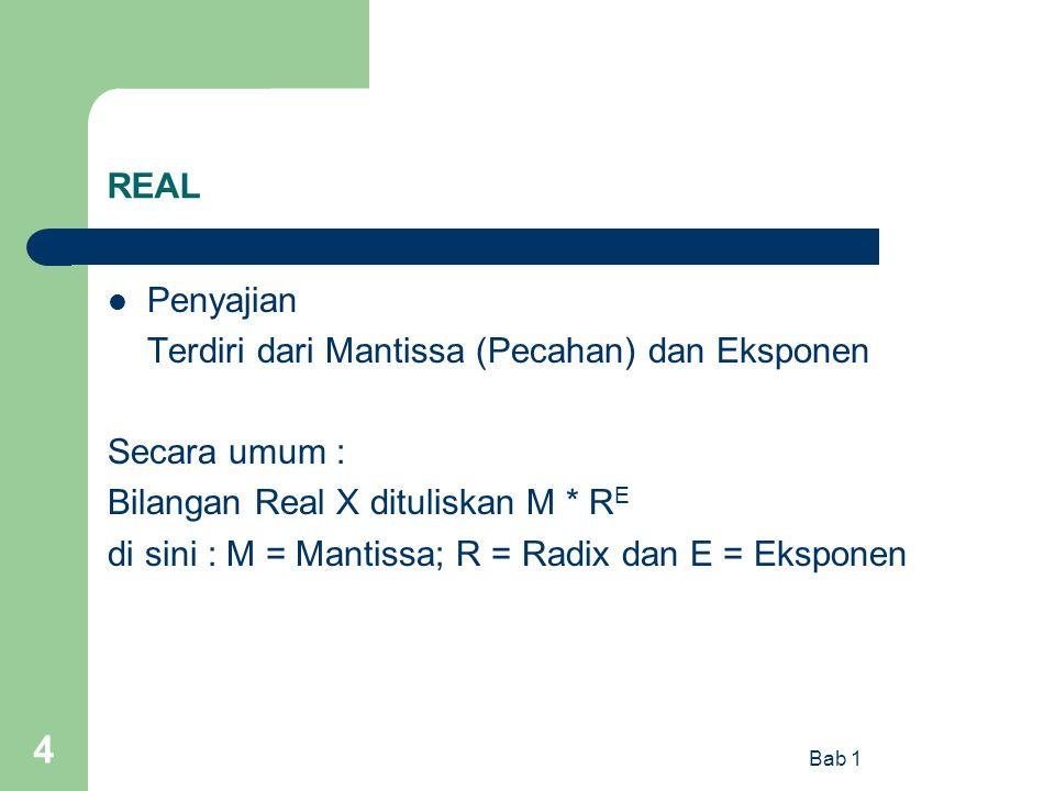 Bab 1 4 REAL Penyajian Terdiri dari Mantissa (Pecahan) dan Eksponen Secara umum : Bilangan Real X dituliskan M * R E di sini : M = Mantissa; R = Radix