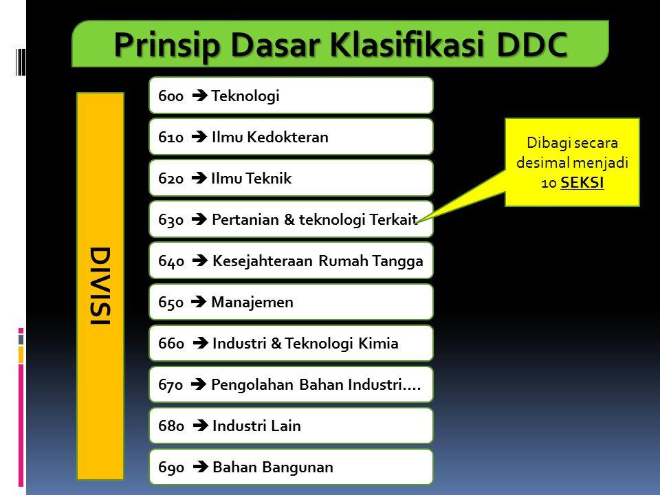 Prinsip Dasar Klasifikasi DDC 600  Teknologi 610  Ilmu Kedokteran 620  Ilmu Teknik 630  Pertanian & teknologi Terkait 640  Kesejahteraan Rumah Ta