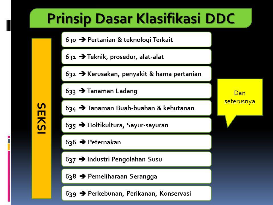 Prinsip Dasar Klasifikasi DDC 630  Pertanian & teknologi Terkait 631  Teknik, prosedur, alat-alat 632  Kerusakan, penyakit & hama pertanian 633  T