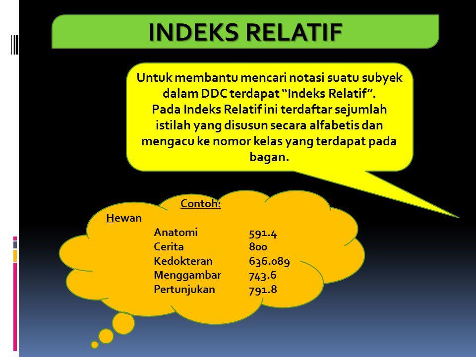 """INDEKS RELATIF Untuk membantu mencari notasi suatu subyek dalam DDC terdapat """"Indeks Relatif"""". Pada Indeks Relatif ini terdaftar sejumlah istilah yang"""