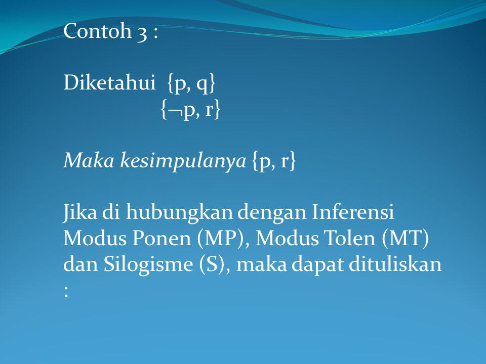 Contoh 3 : Diketahui {p, q} {  p, r} Maka kesimpulanya {p, r} Jika di hubungkan dengan Inferensi Modus Ponen (MP), Modus Tolen (MT) dan Silogisme (S)