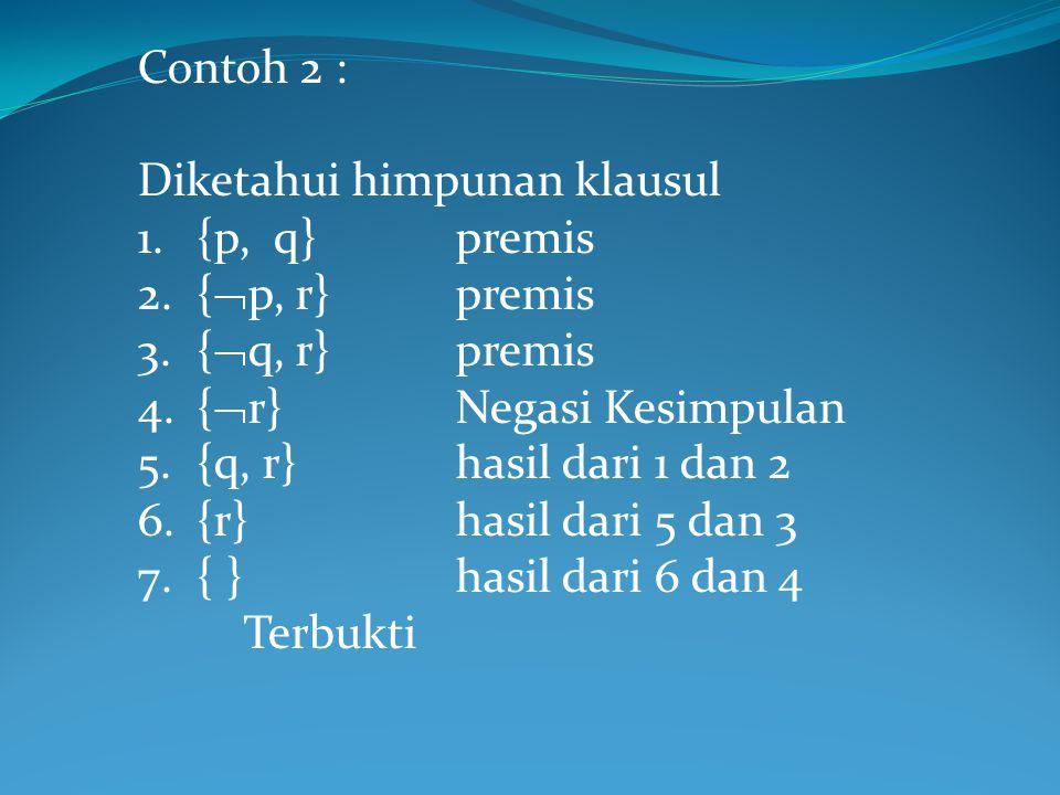 Contoh 2 : Diketahui himpunan klausul 1.{p, q}premis 2.{  p, r}premis 3.{  q, r} premis 4.{  r}Negasi Kesimpulan 5.{q, r}hasil dari 1 dan 2 6.{r}ha