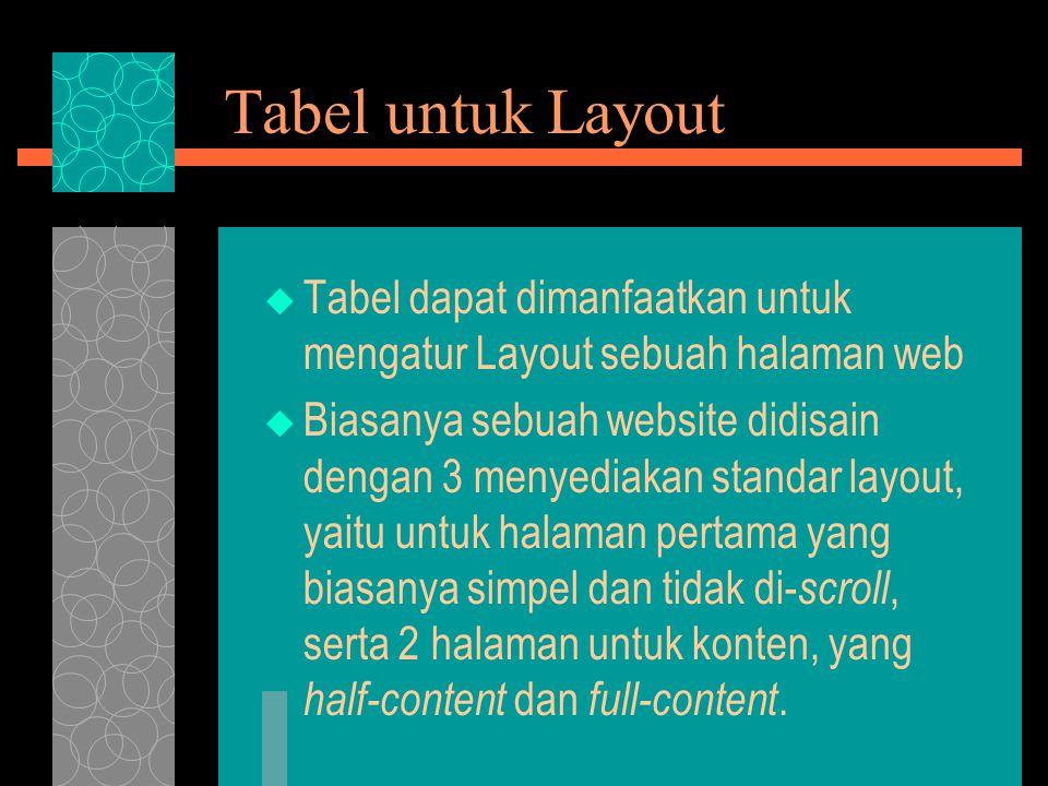 Tabel untuk Layout  Tabel dapat dimanfaatkan untuk mengatur Layout sebuah halaman web  Biasanya sebuah website didisain dengan 3 menyediakan standar